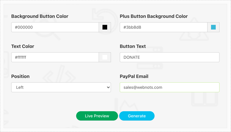 Donate Button Inputs