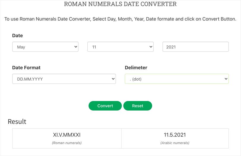 Roman to Arabic Date Converter